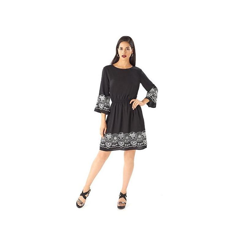 Vestido corto negro encaje mangas  019155