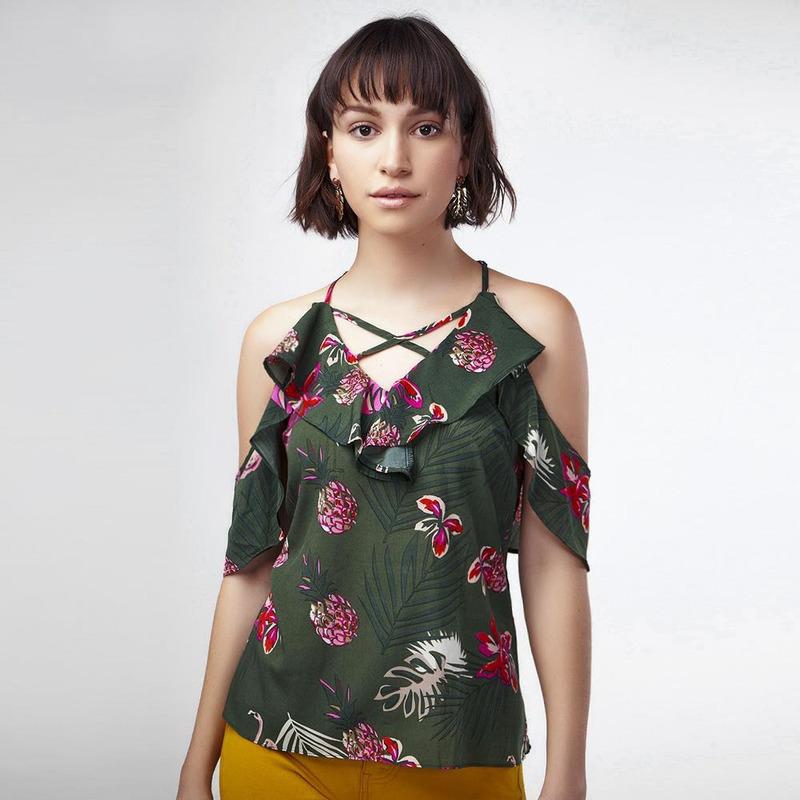 Blusa Verde Con Estampado Floral 017059