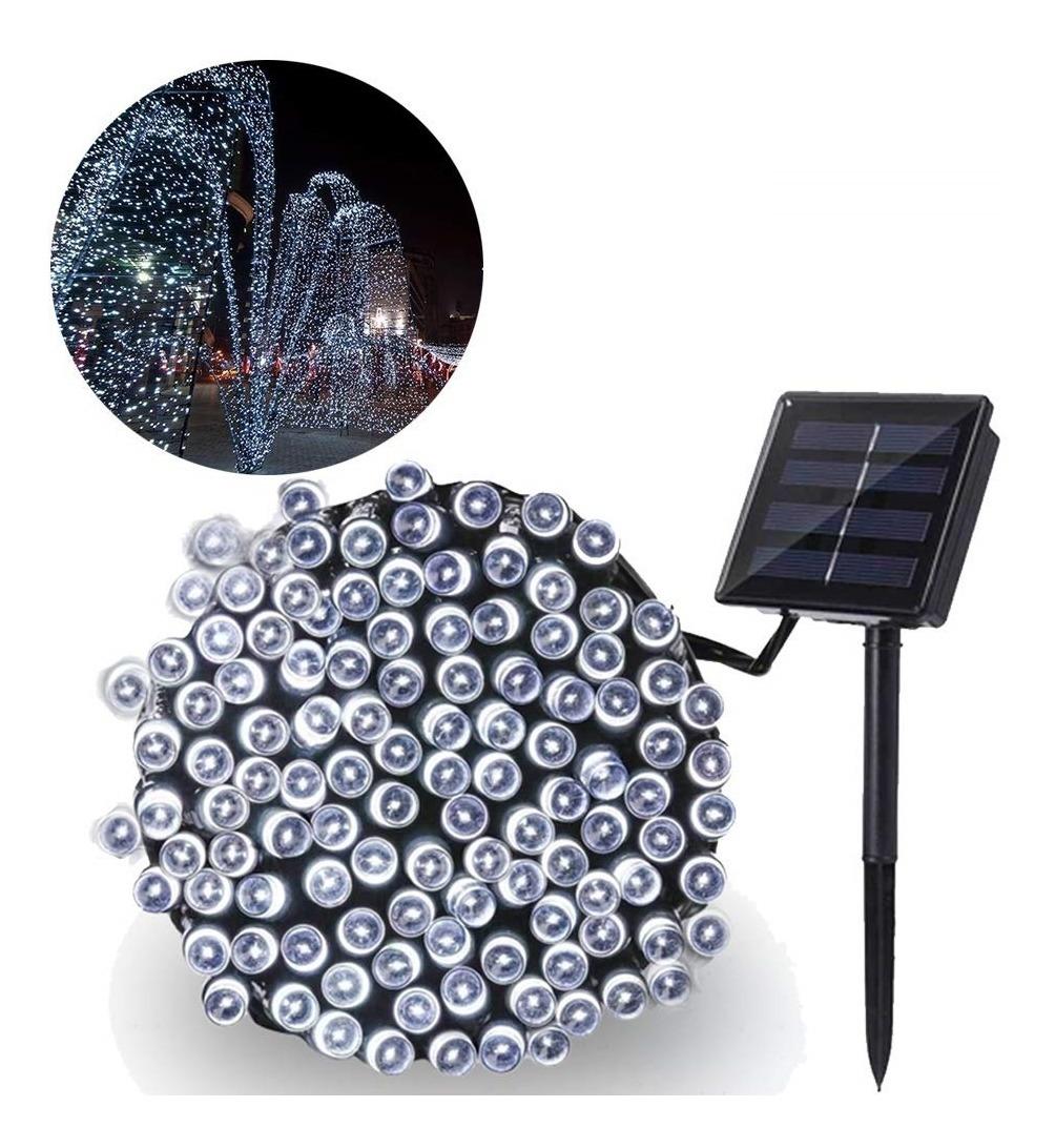 Luces Navidad Solar 100 Led Blanco Frio 10 Metros Exterior