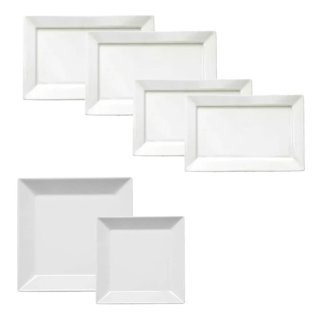 Set X 6 Pz Platos Cuadra Rectangula Vajilla Porcelana Oxford