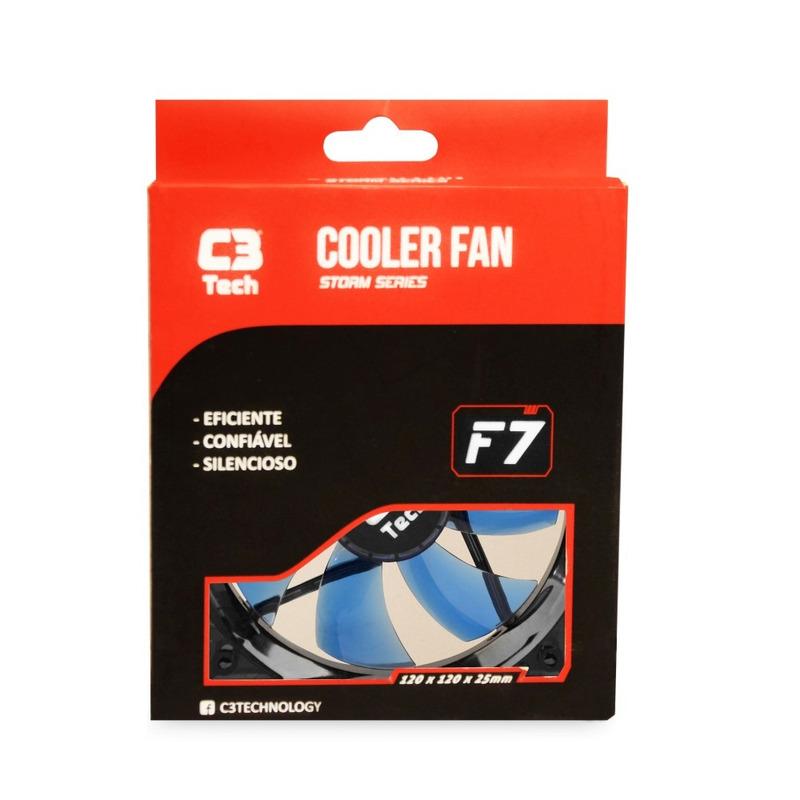 COOLER FAN 12CM LED C3TECH STORM F7-L100BL AZUL