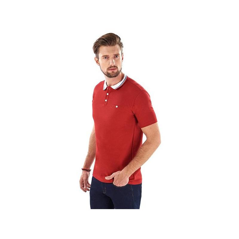 Camisa roja cuello blanco manga corta 014613
