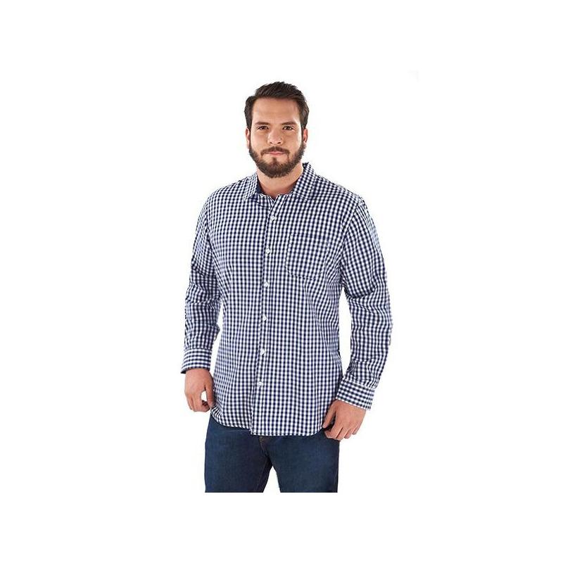 Camisa cuadros azul con blanco  014580P