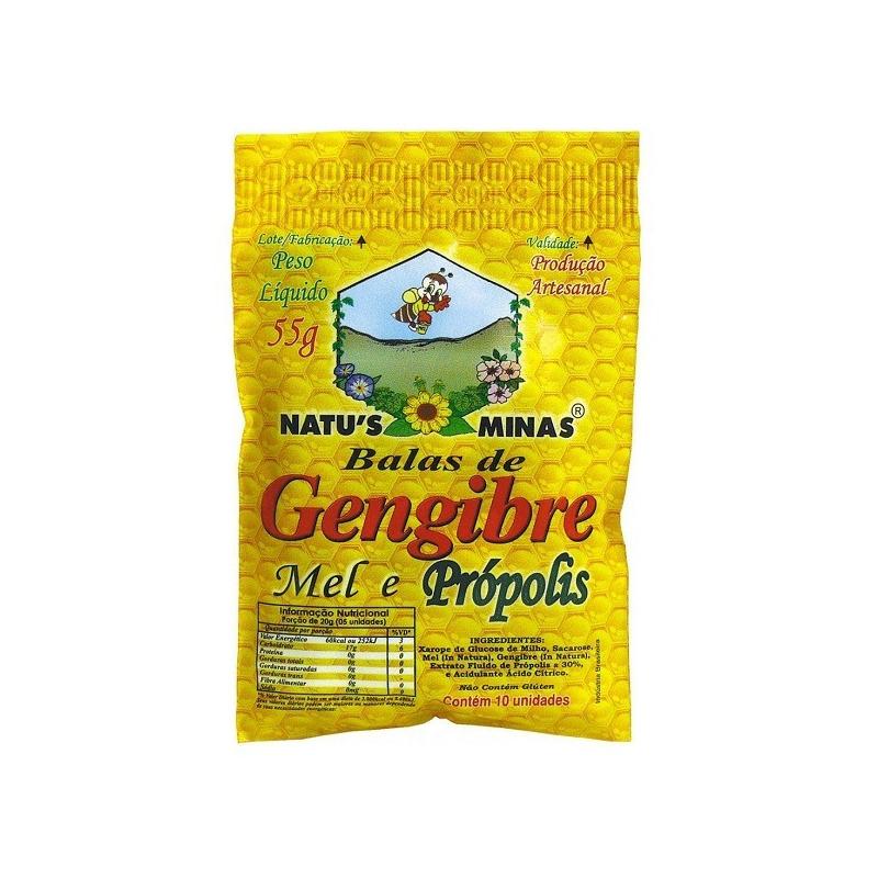 Balas de Gengibre, Mel e Propolis - 10Un - Natu's Minas