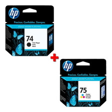 Combo Cartucho Hp 74+75 Negro+color Original Cb335wl+cb337wl