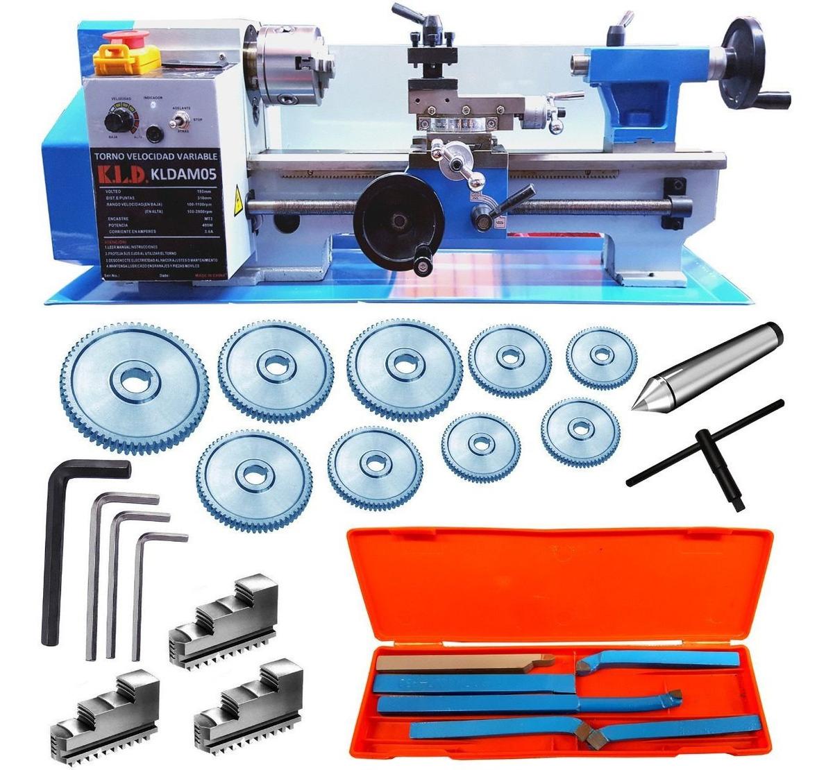 Mini Torno Mecanico P/ Metales 300mm 400 W Rpm Digital Kld