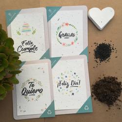 10 Postales Plantables  - papel recic...
