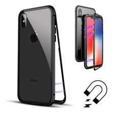 Funda Magnetica Metalica iPhone 7 8 Plus Xs Max Xr + Glass