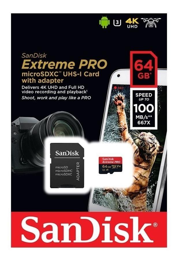 Sandisk Extreme Pro Micro Sdxc 64gb 100mb/s U3 C10 V30 4k Go