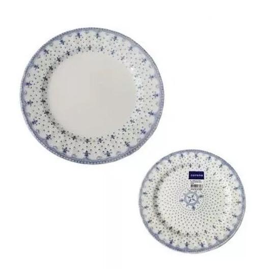 Set 12 Pzs Corona Porcelana Plato Playo Postre Estilo Ingles