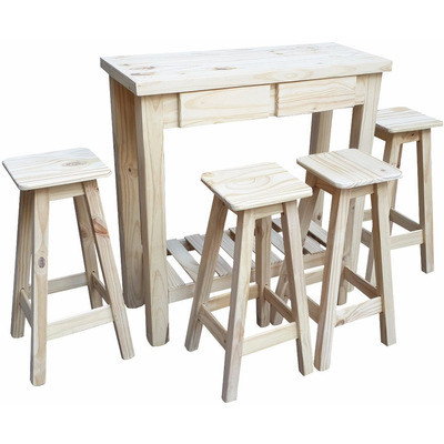 Barra desayunador mesa alta madera 40x120cm 4 banquetas for Banquetas para barra de cocina