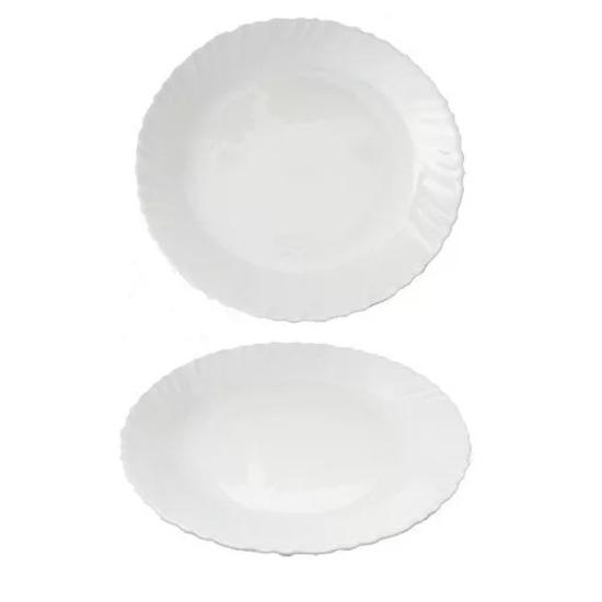 Set X 6 Platos 25 Cm Playos Vidrio Blanco Resiste Microondas