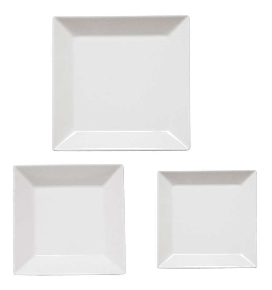 Set X 18 Pzs Platos Vajilla Porcelana Cuadrado Blanco Oxford