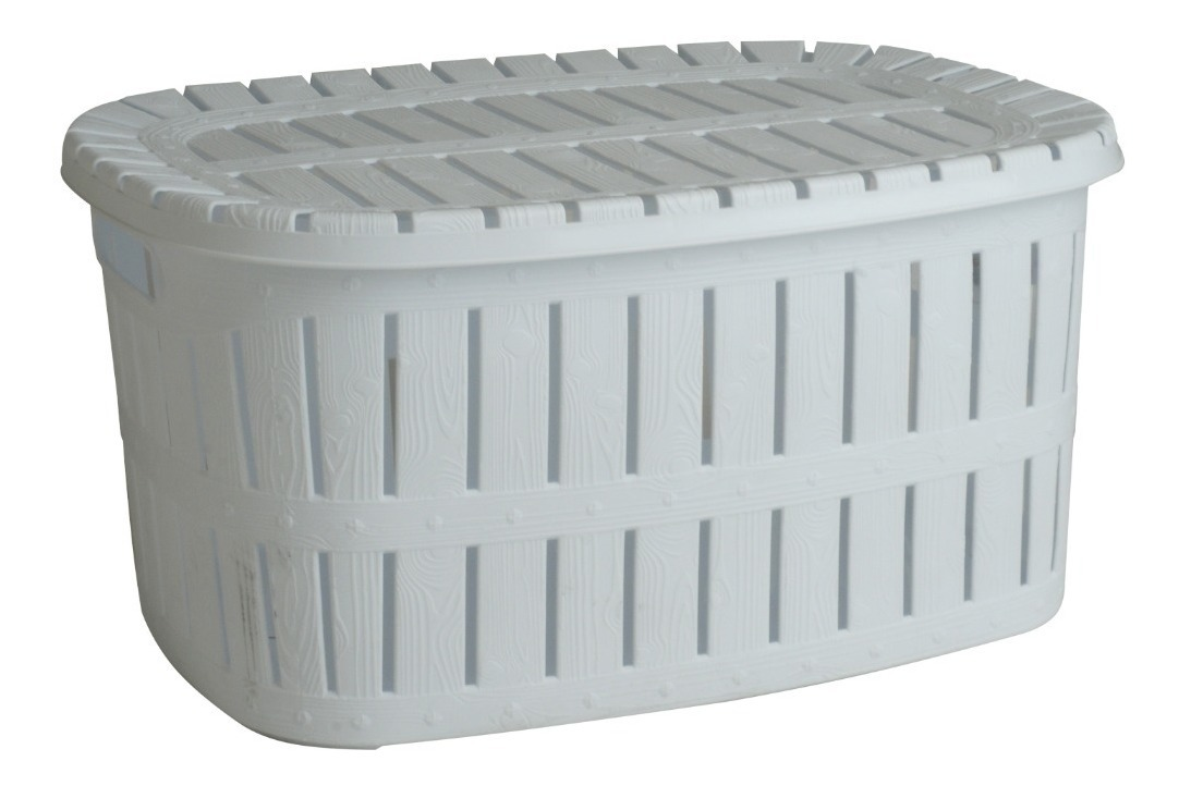 Canasto Organizador Plastico Rectangular Apilalbe Con Tapa