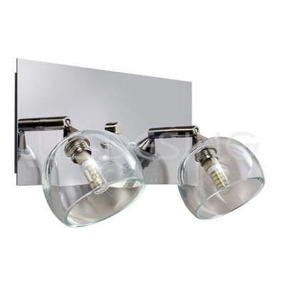 Aplique 2 Luces Moderno Cáliz Transparente Con Led Incluido