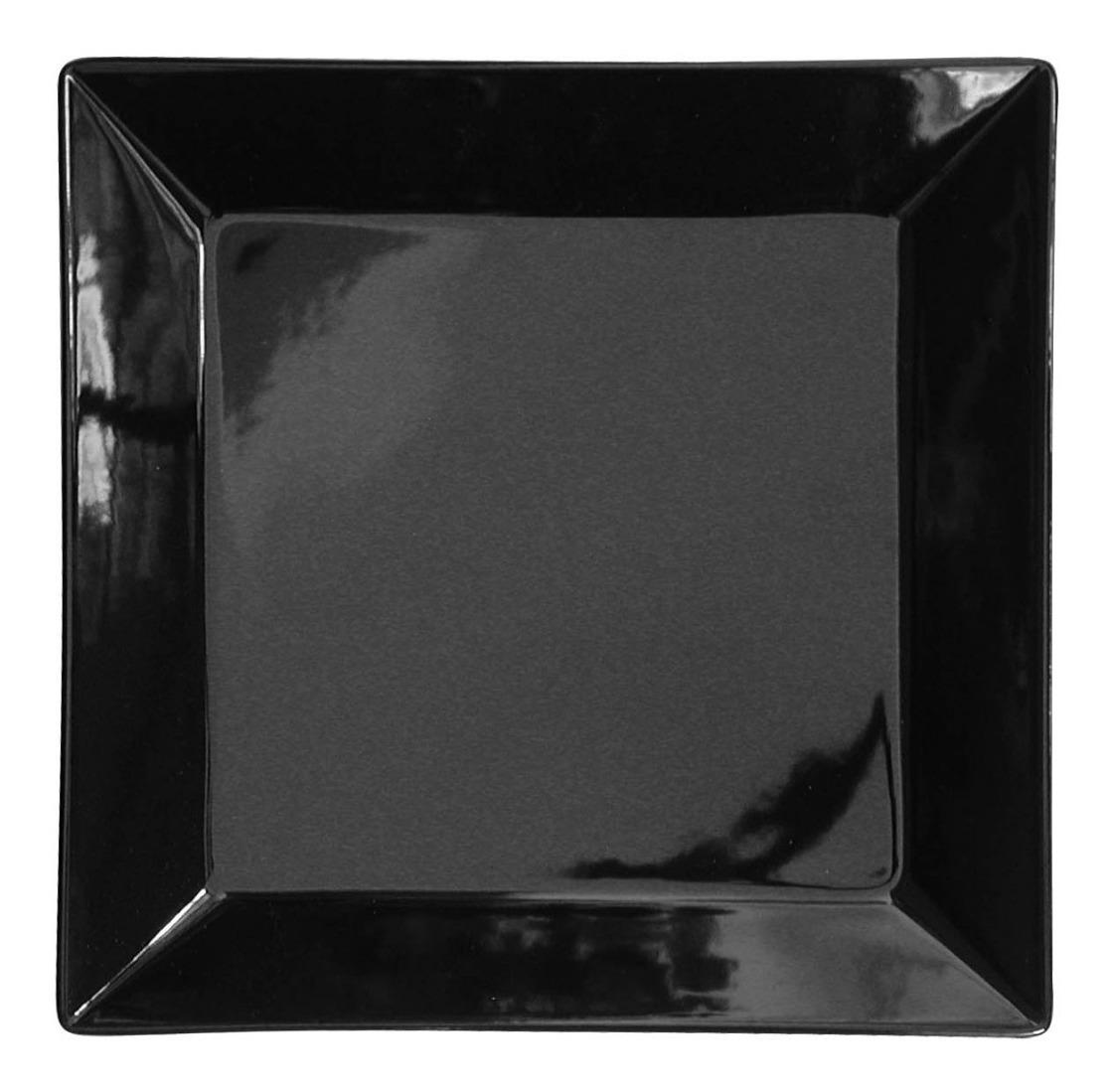 Plato Playo Cuadrado Grande 26 8 Cm Porcelana Negra Oxford