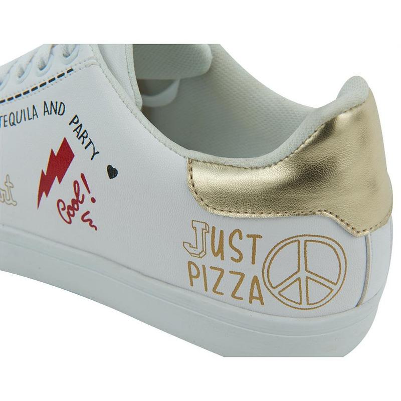 Sneakers Blanco Con Detalle Multicolor 017666
