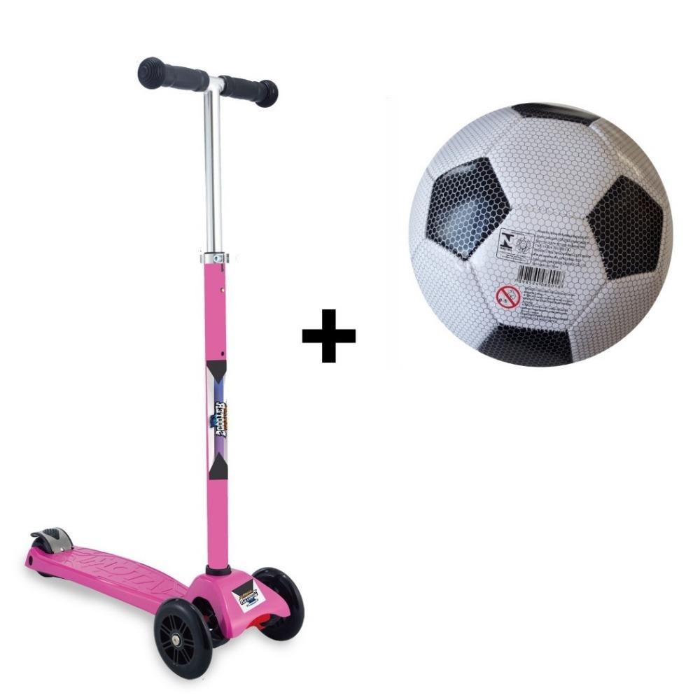 ... Patinete 3 Rodas Scooter Net Rosa Zp105 + Bola de Futebol ... 300d2cf39be87