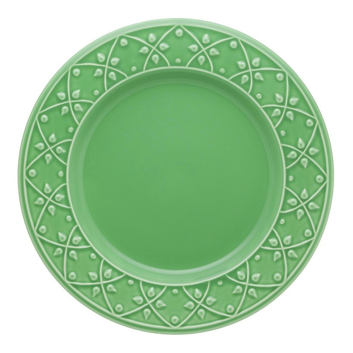 Plato Playo 26 Cm Ceramica Oxford Salvia Verde Fino Relieve