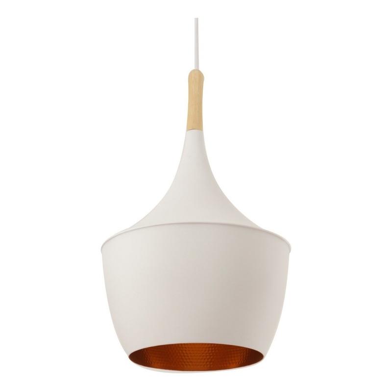 Lámparas Colgantes Moderna Beat Fat Madera Blanco Apto Led