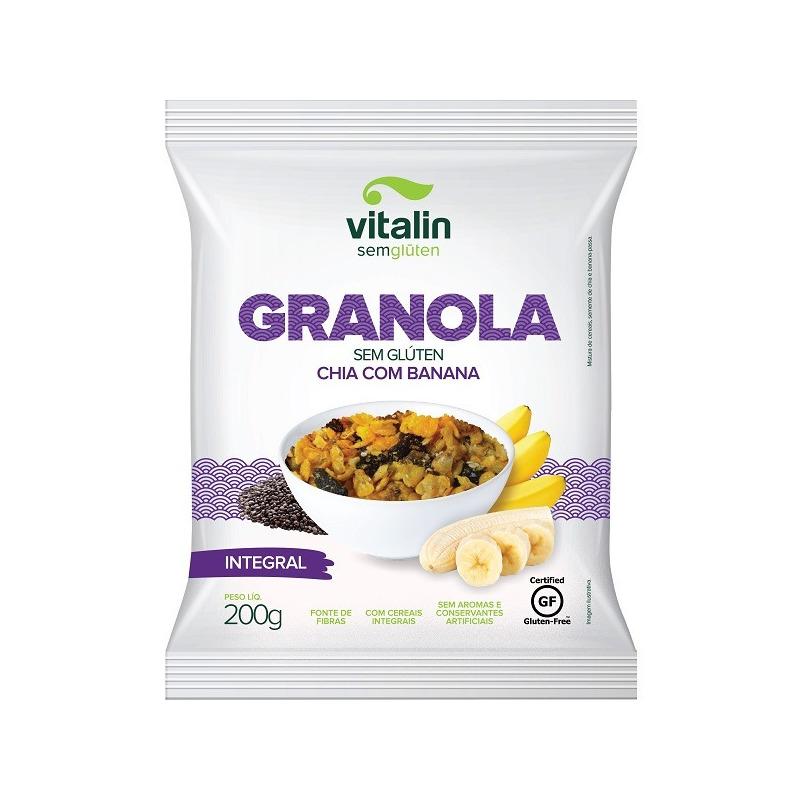 Granola Sem Gluten - Chia com Banana - 200g - Vitalin