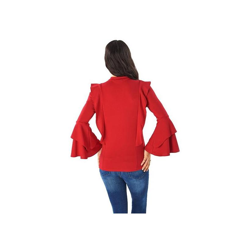 Blusa roja manga larga con moño 014384