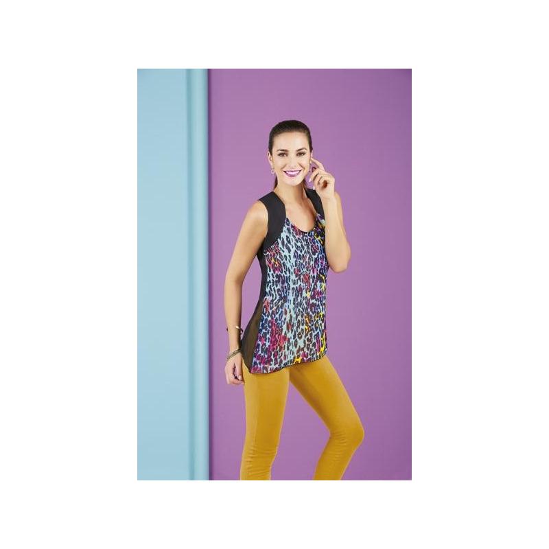 Blusa multicolor sin manga  007284