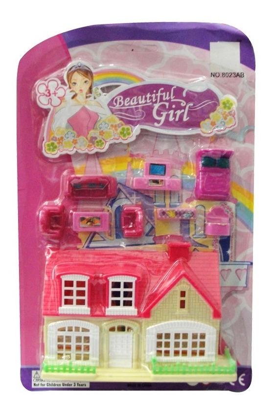 Mini Set Casita Casa + Muebles Accesorio Juguete Niña Nena