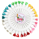 Alfinetes Longo Cabeça Coração Coloridos - 180 Pçs