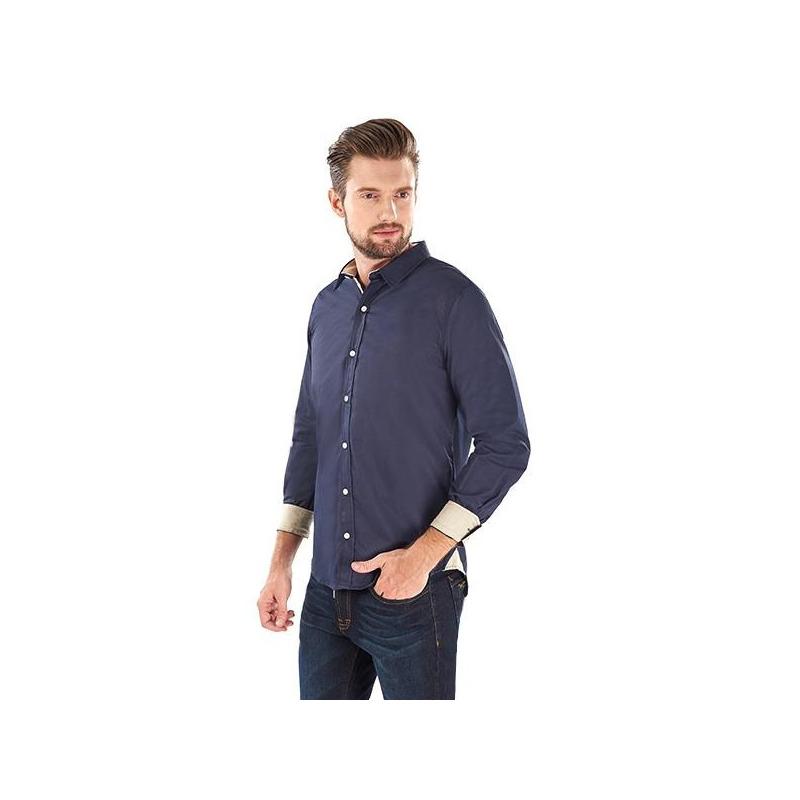 Camisa marino con cuello y puños blancos 015589
