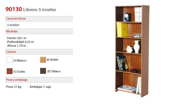 Biblioteca Librero Platinum 9013 Repisa 5 Estantes
