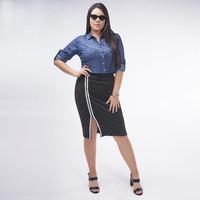 Falda Negra Con Linea Blanca 019417