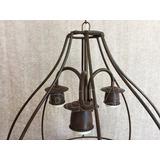 Lámpara Colgante Grande 3 luces Jaula Hierro &Oacu...