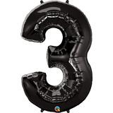 globo numero negro 1 mts. desinflado apto helio o aire