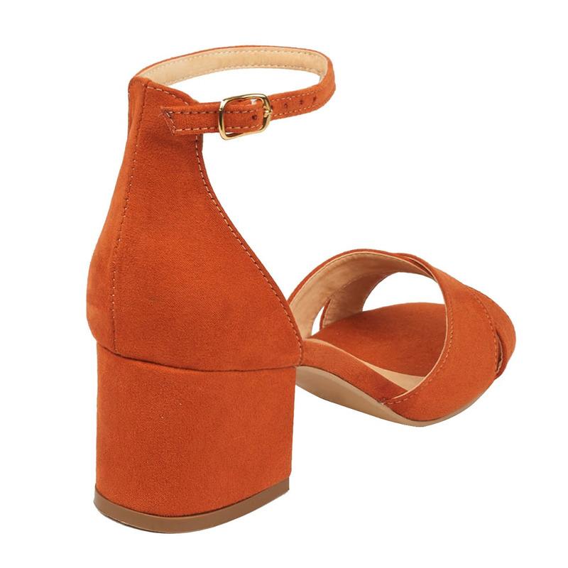 Sandalia tacón naranja con pulsera  016462