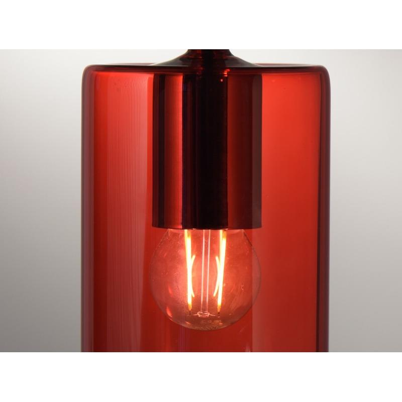 Lampara Colgante 1 Luz Fat Rojo Apto Led Vidrio Deco Moderno