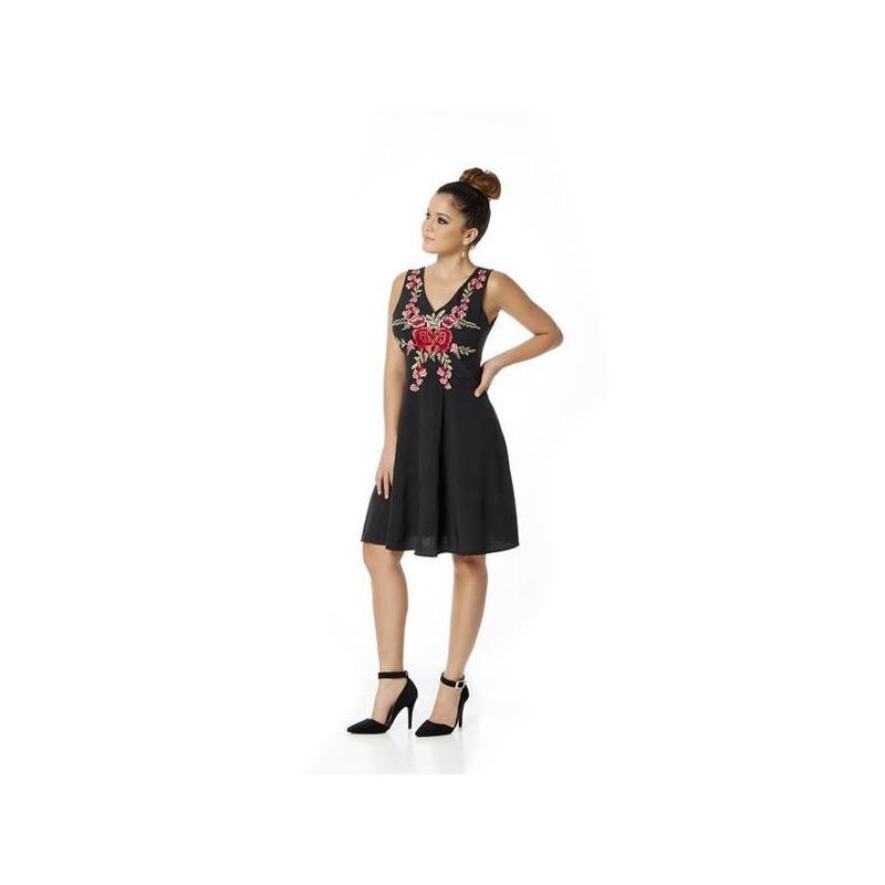 Vestido corto negro con rojo 010677