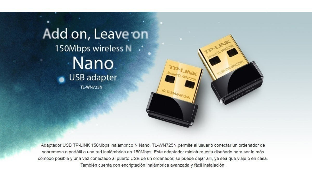 Placa De Red Adaptador Wifi Usb Tp Link 725n 150 Mbps Nano
