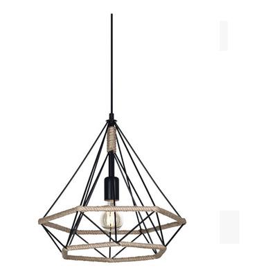 Lampara Colgante Jaula Deco Industrial Metal Y Soga E27 220v