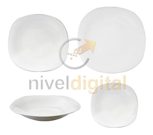 Set X 19 Platos Cuadrado Vidrio Blanco Resiste Microondas