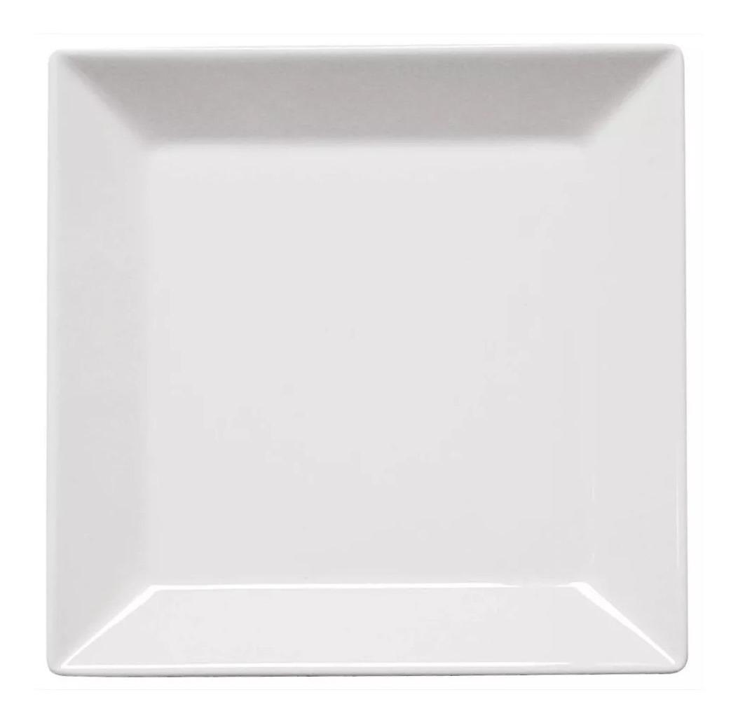 Set X 4 Platos Playo Cuadrado Grande 26 8cm Porcelana Oxford