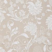 Tecido jacquard floral - bege/branco - Impermeável - Coleção Panamá