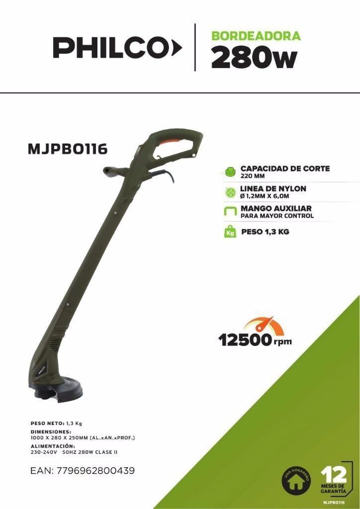 Bordeadora Eléctrica Philco 280w 22 Cms De Corte