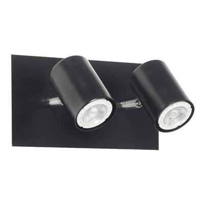 Aplique 2 Luces Recto Negro Cabezal Movil Apto Led Deco Mks