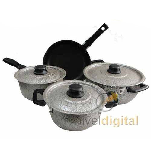 Bateria Cocina Cheff Flon 7 Pz Teflon 2da Seleccion Sin Caja