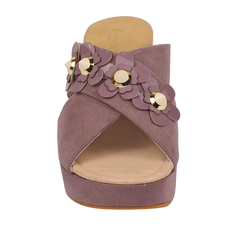 Sandalia plataforma violeta estampada 016587