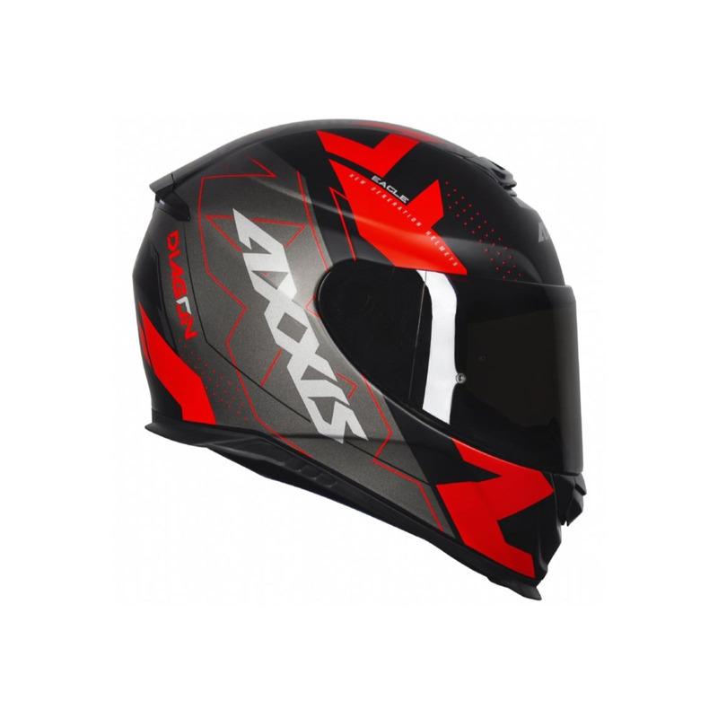 Capacete Axxis Eagle Diagon Preto Cinza e Vermelho