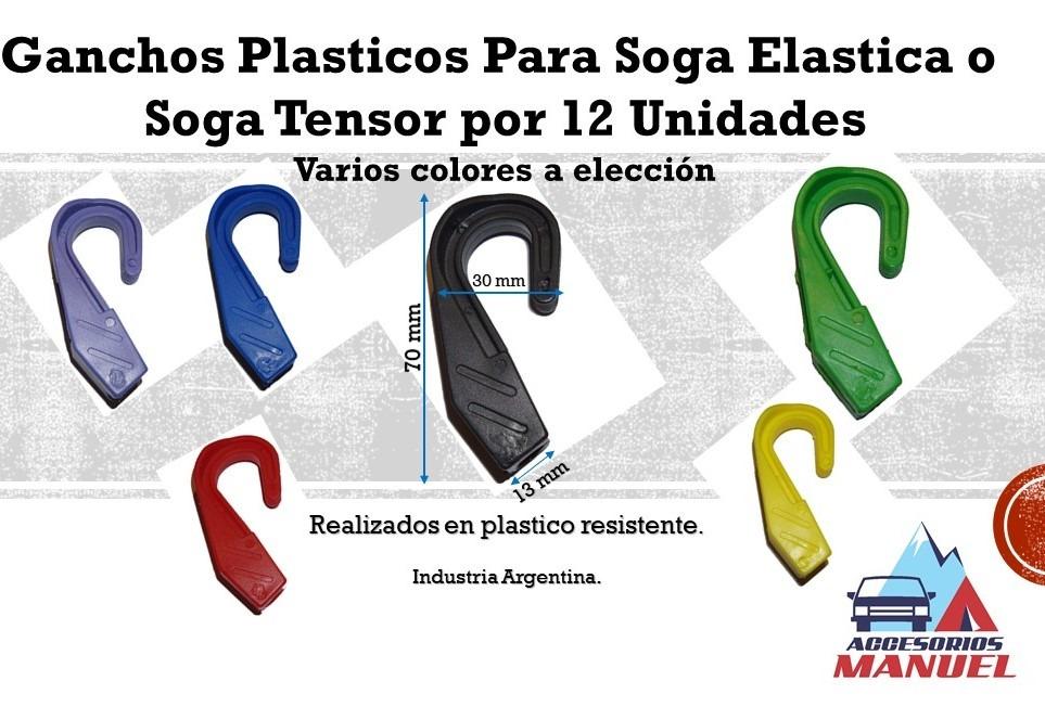 Ganchos plasticos para soga elastica o soga tensor x 12 for Ganchos de plastico