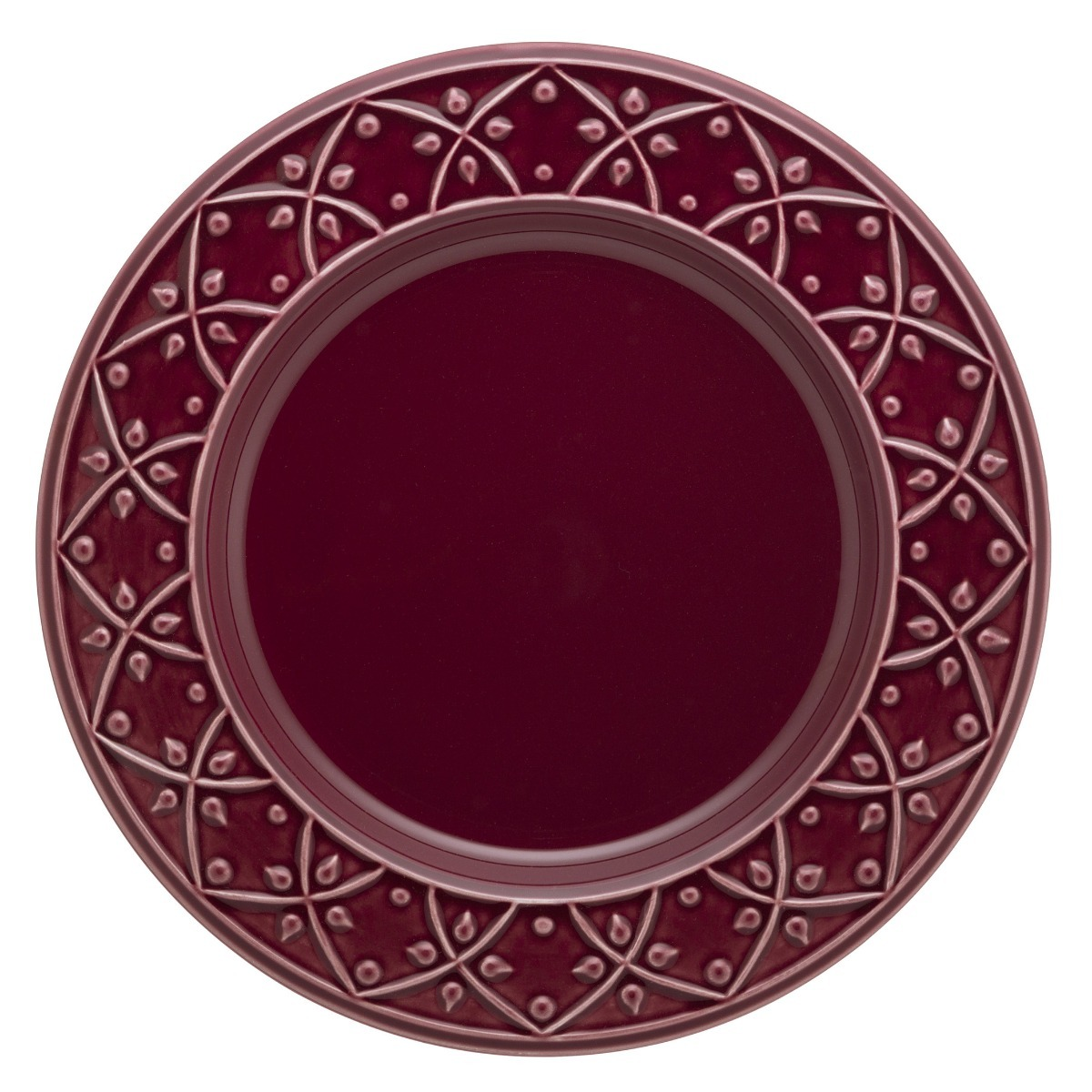 Set 6 Platos Playo Ceramica Oxford Corvina Bordo Finorelieve