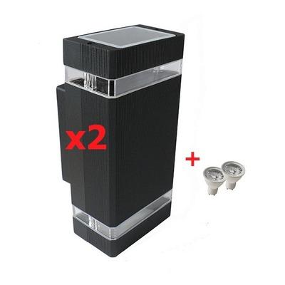 Pack X2 Aplique Bidireccional Exterior Pared Dicroled Gu10